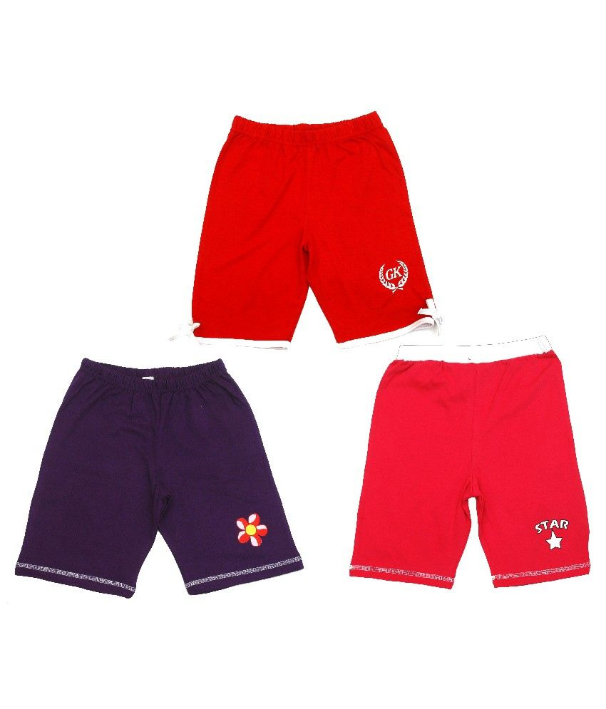 Gooway Pack of 3 Multi Colors Printed Shorts Combo Pack For Kids