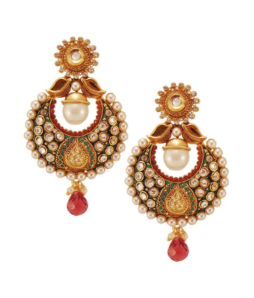 Habors White Diksha Chandbali Earrings