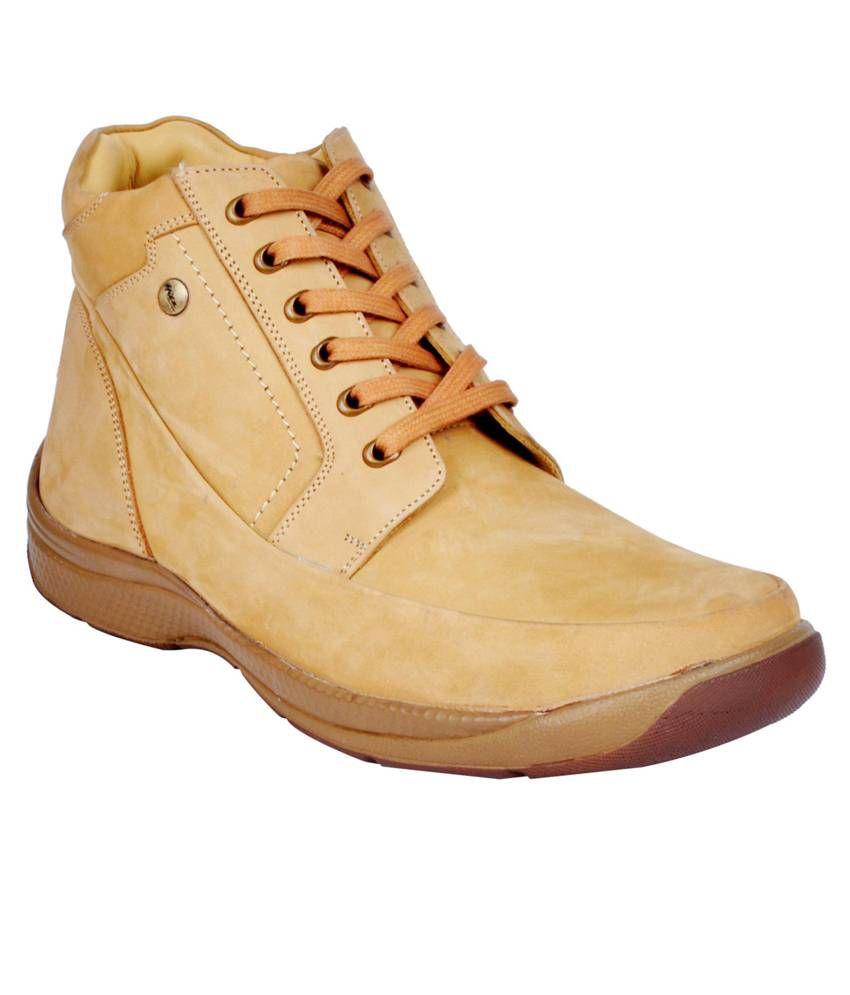 Hitz Beige Designer Leather Boots