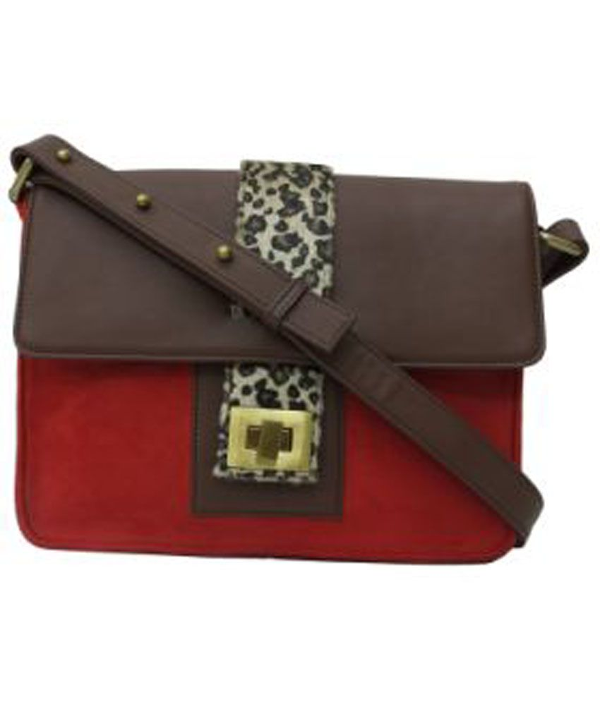 Zaera Red Faux Leather Sling Bag