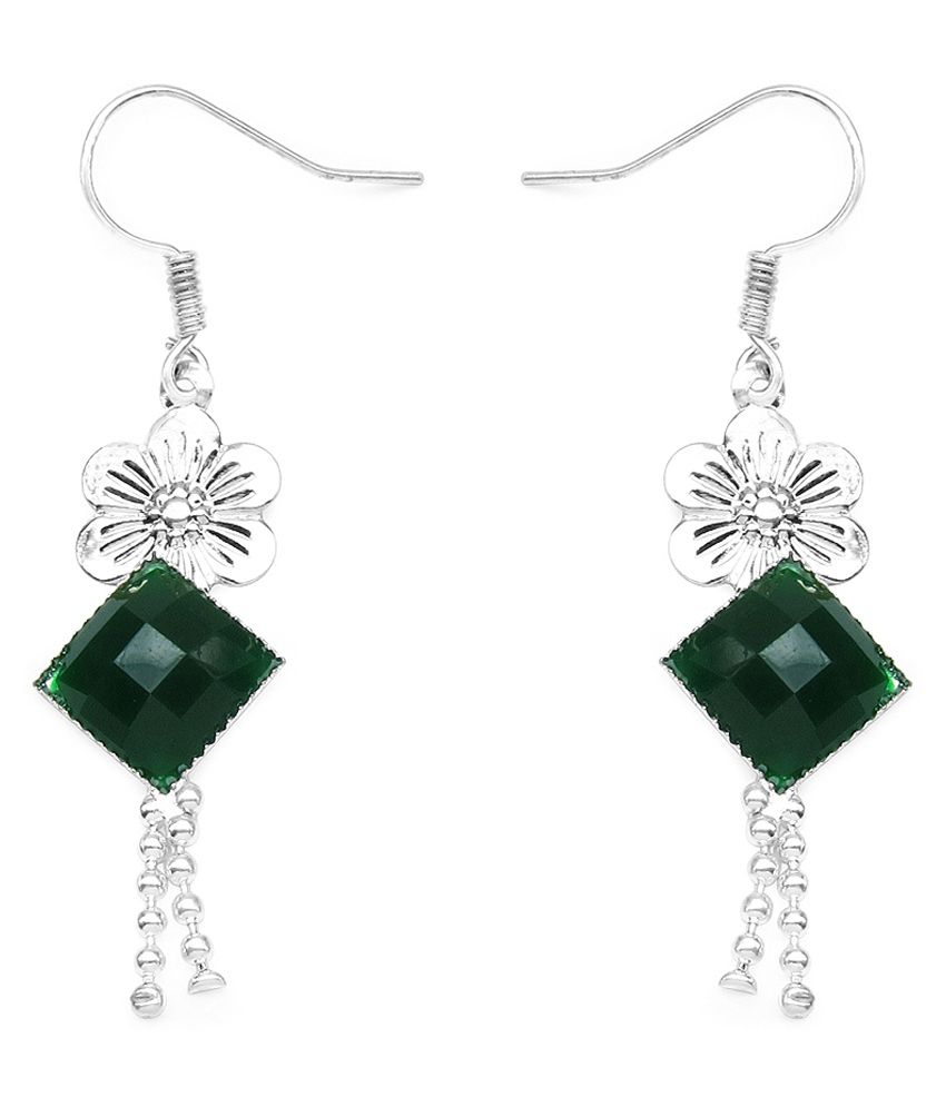 1.60 Grams Green Glass Earrings