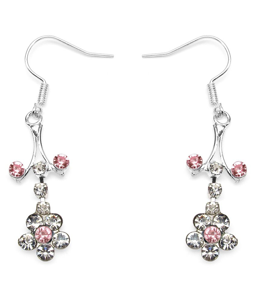 1.79 Grams Pink Glass & White Glass Earrings