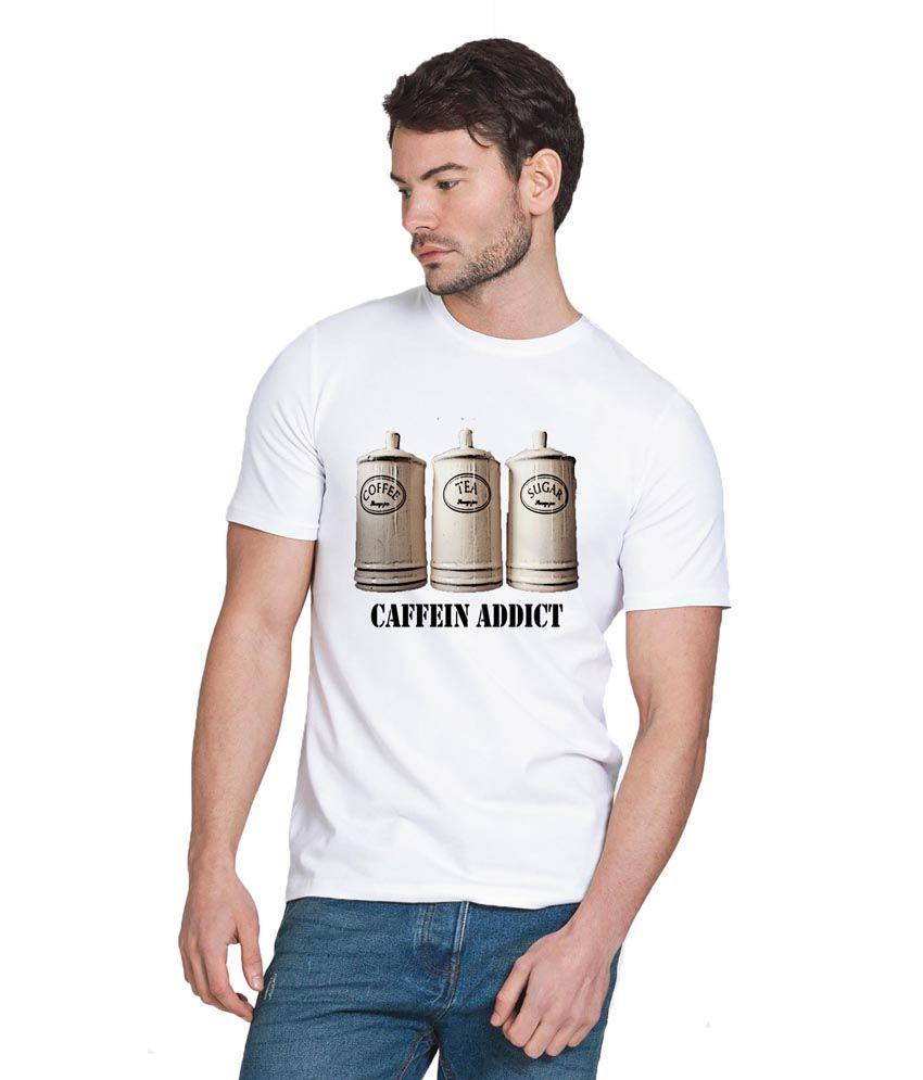 Chillum White Cotton Caffein Addict Printed T-shirt