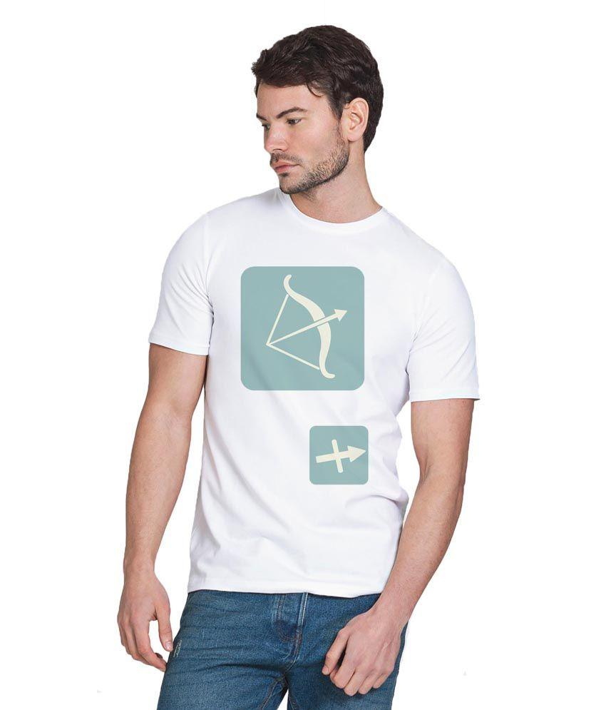 Chillum White Cotton Sagitarius Printed T-shirt