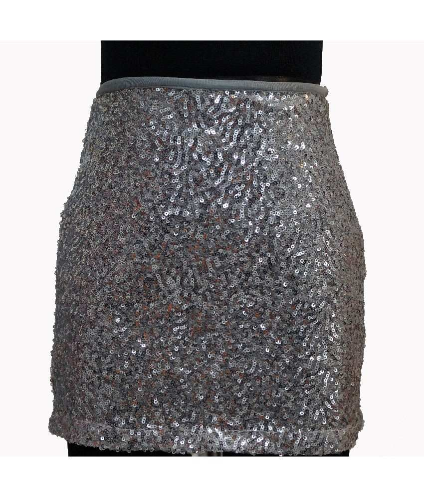 Karyn Silver Color Party-Wear Skirts For Kids
