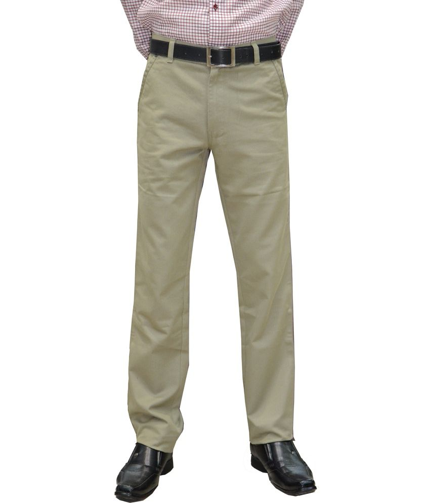 Marx Green Cotton Slim Fit Semi Formal Trouser