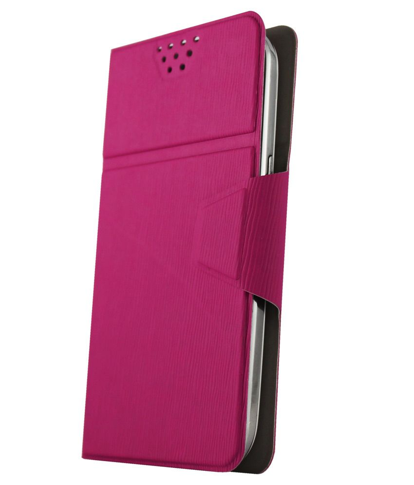 Molife Universal   Flip Cover For Iball Andi 4.5M Enigma - Pink