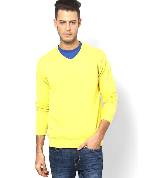 wo kann ich kaufen San Francisco neue Produkte für Angelo Litrico Yellow Cotton V-neck Full Sleeve Sweater