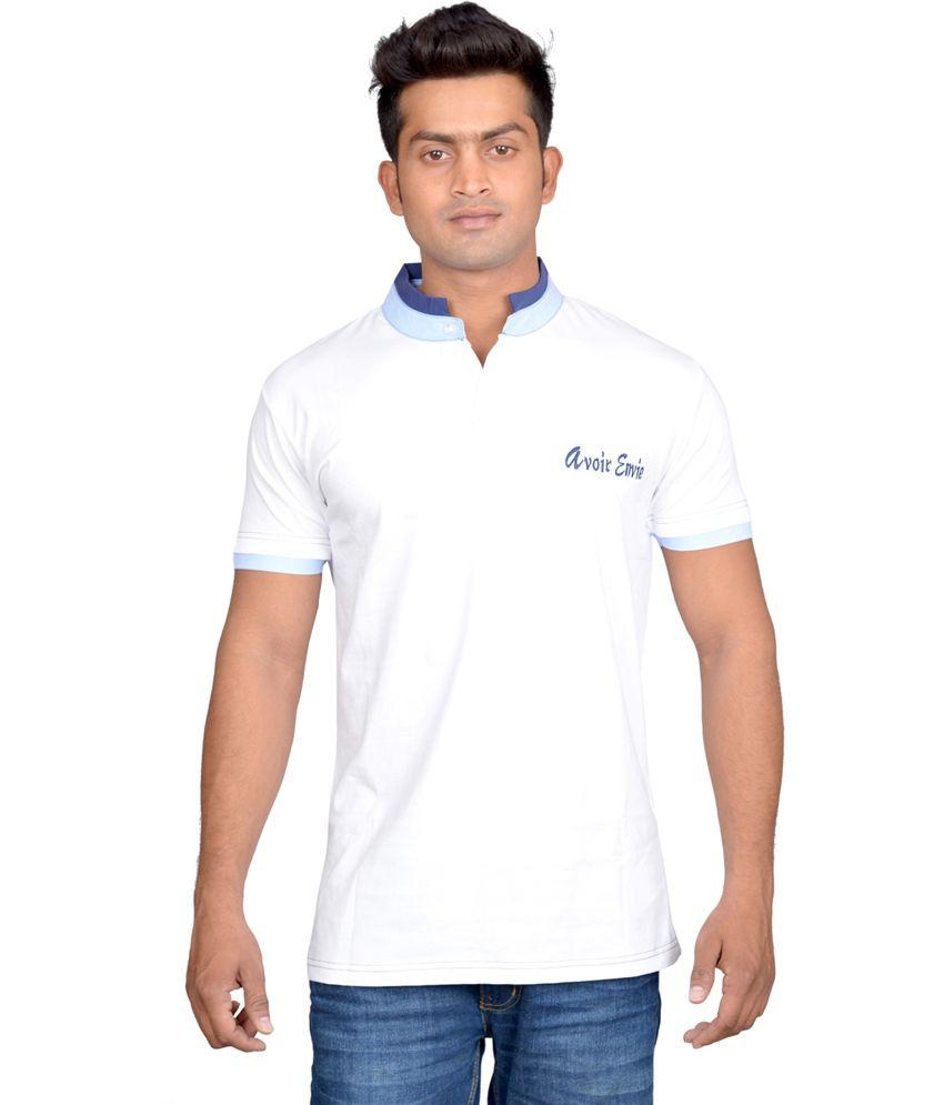 Avoir Envie White Half Sleeves Cotton Blend T-shirt