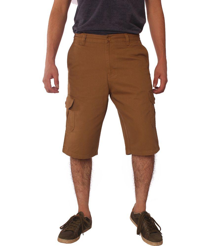 Cottny Khaki Cotton Men's Knee Length Shorts