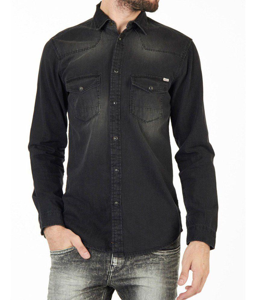 newest d3724 79174 Jack & Jones Vintage Black Denim Slim Fit Shirt