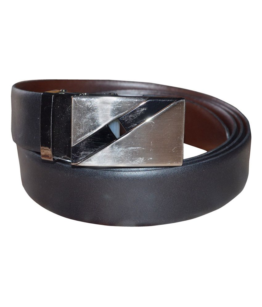 Silverbull Black Reversible Textured Belt With Autolock