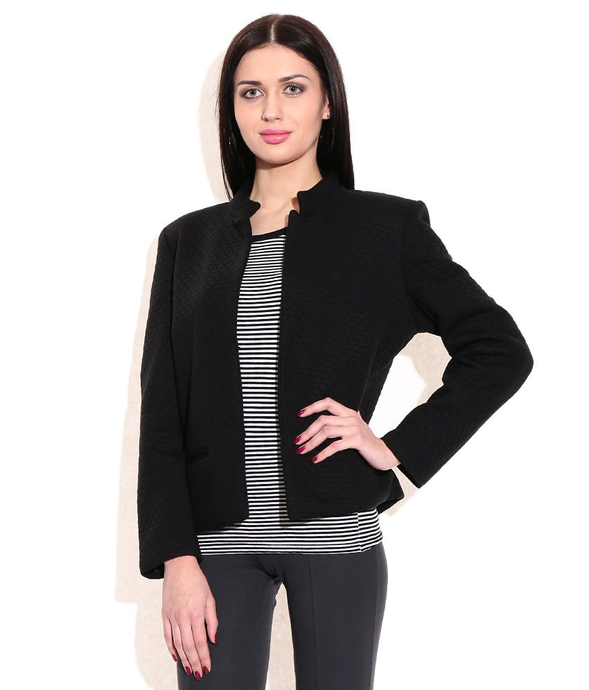 567d71698 Wills Lifestyle Black Poly Blend Full Sleeve Women Jacket