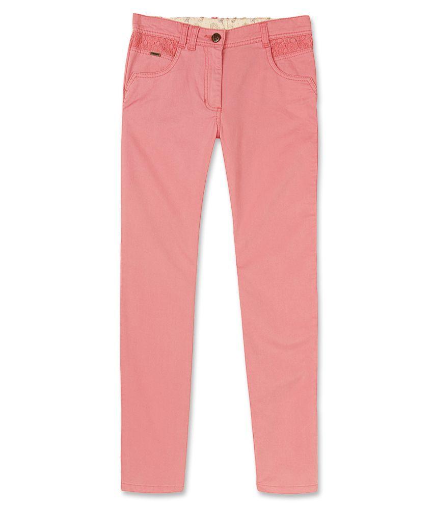 Elle Kids Girl's Pink Slim Fit Capri