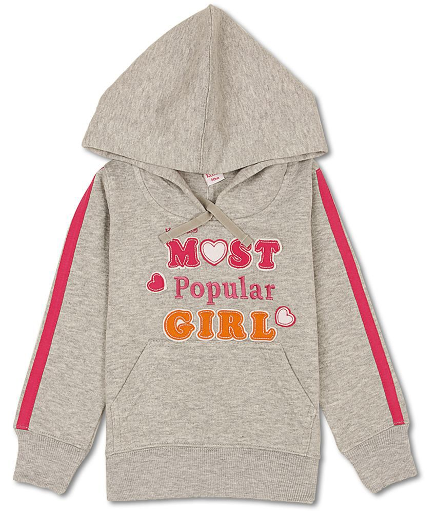 K.CO.89 Girl's Gray Regular Fit Sweat Shirt