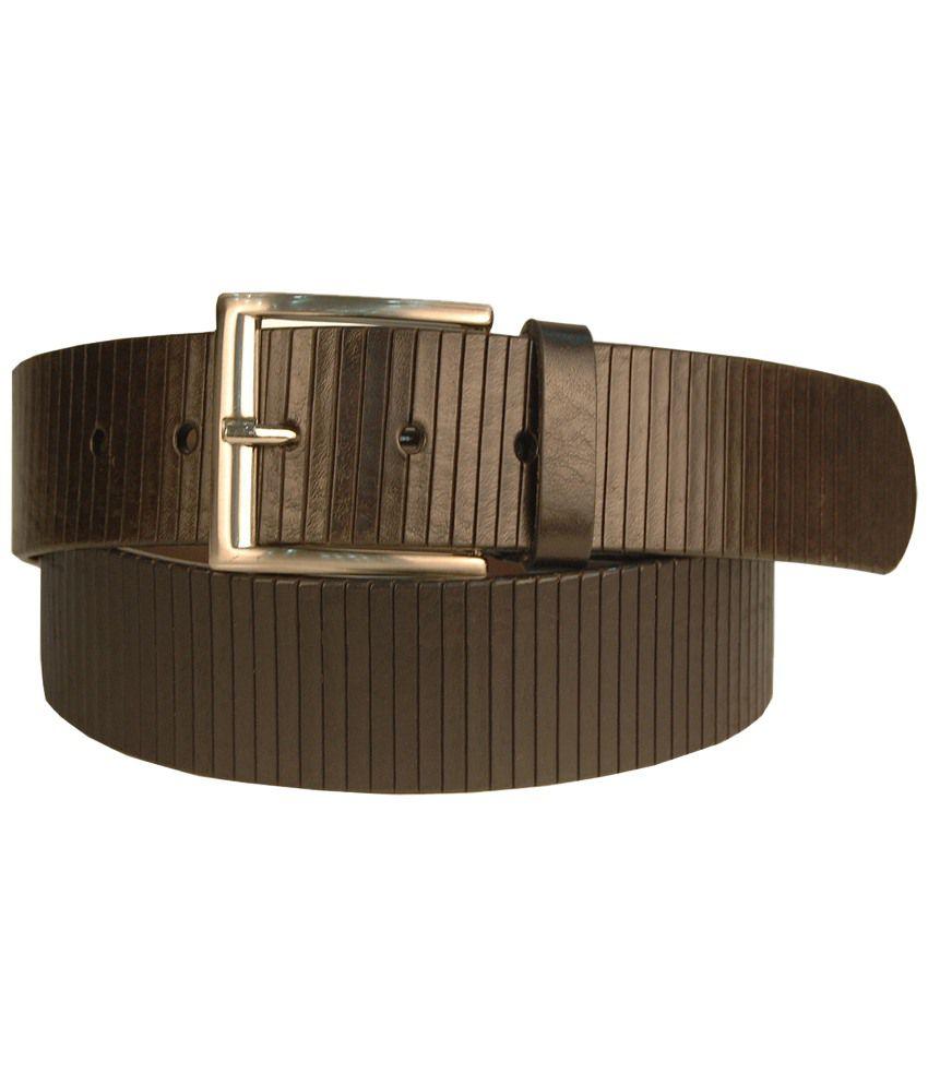 Leather Plus Black Striped Formal Belt For Men