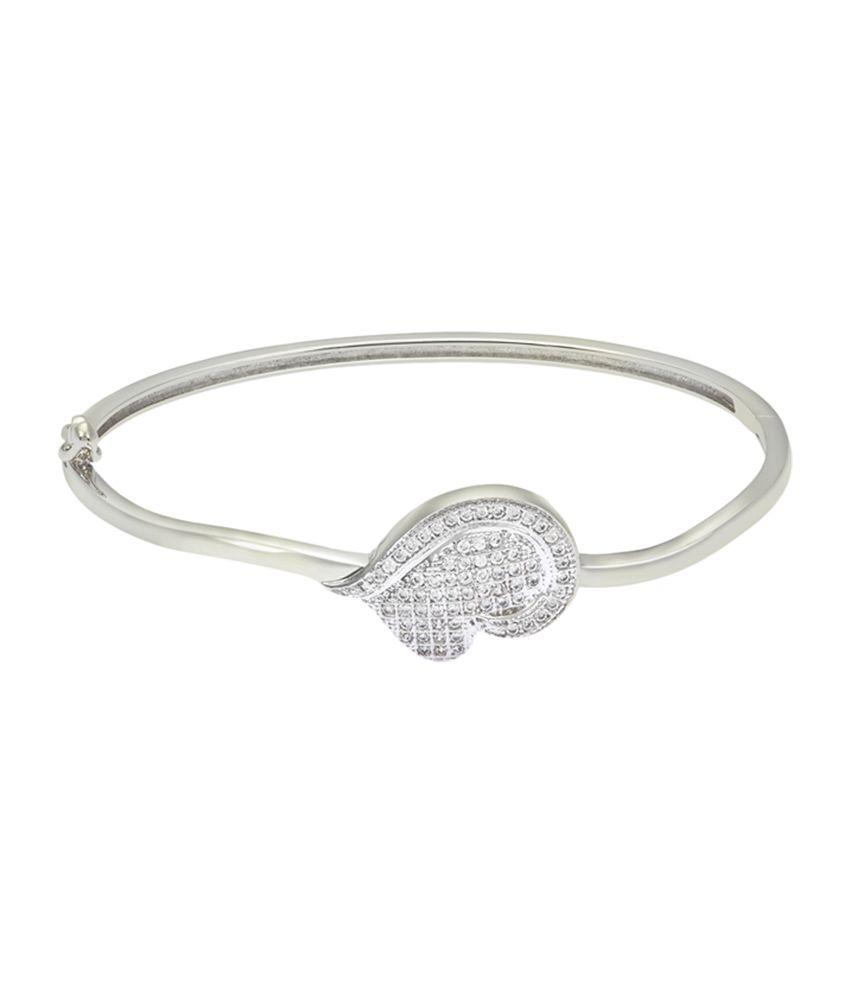 Mahi party wear Rhodium plated Artistic Heart kada of brass alloy with CZ for Women BA1102074R