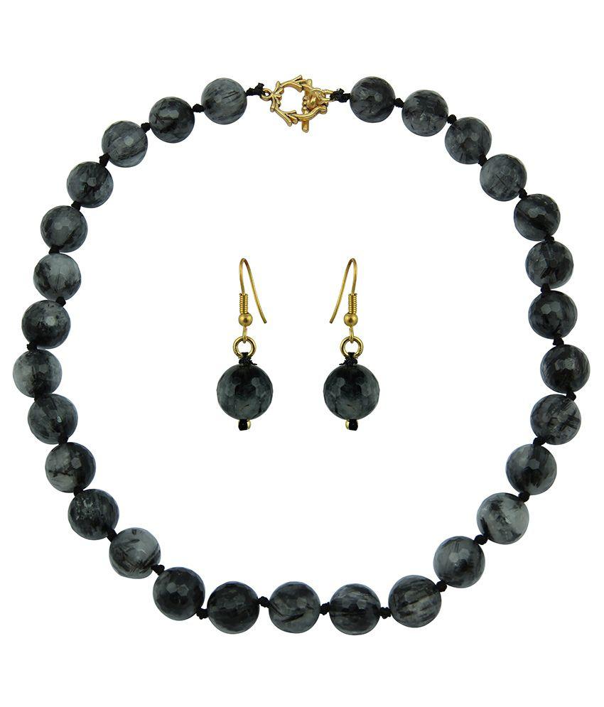 Pearlz Ocean Black Rutilated Quartz Gemstone Beads Necklace Set