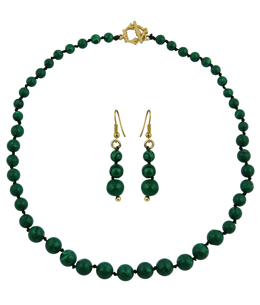 Pearlz Ocean Malachite Gemstone Beads Necklace Set