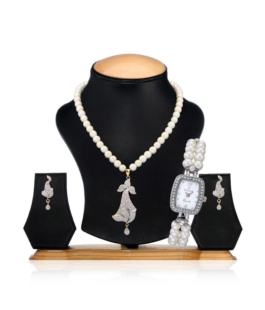 Swan Fashion Jewellery American Diamond Pearl Set