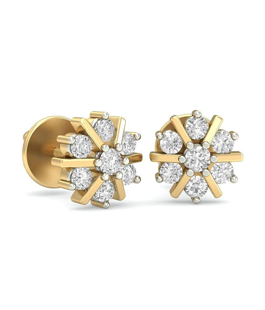 WearYourShine PC Jeweller 18KT Gold The Blythe Diamond Earrings