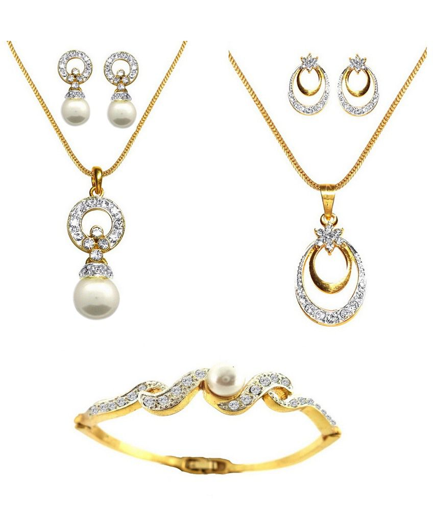 Dg Jewels Fab Dual Tone Plating Combo Of 2 Pendant Sets & Bracelet