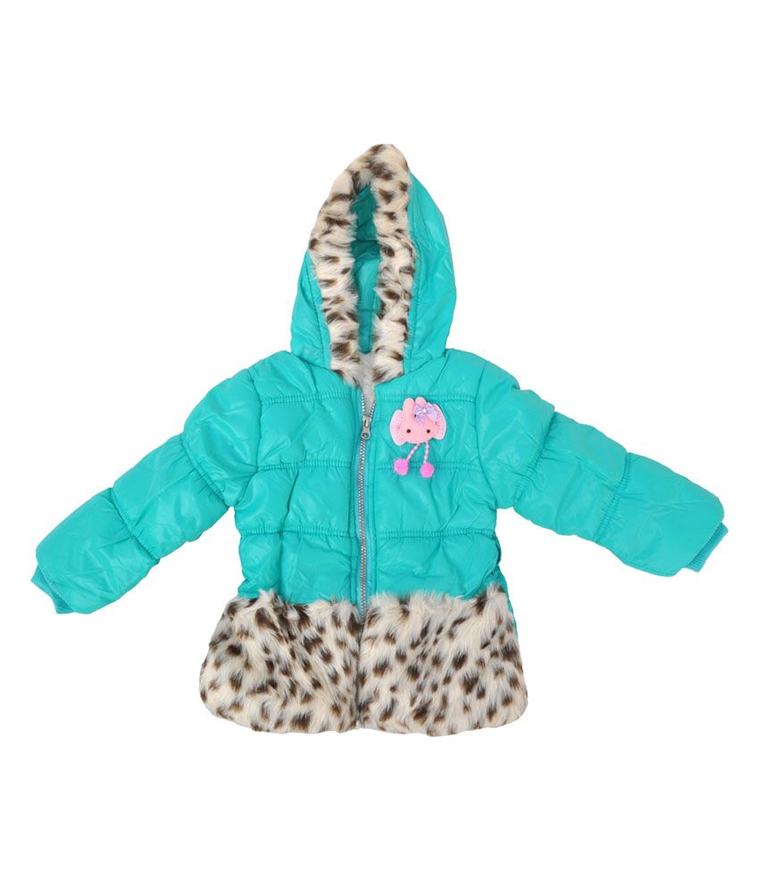 Kids Rock Full Sleeves Blue Fur Quilted Girls Jacket
