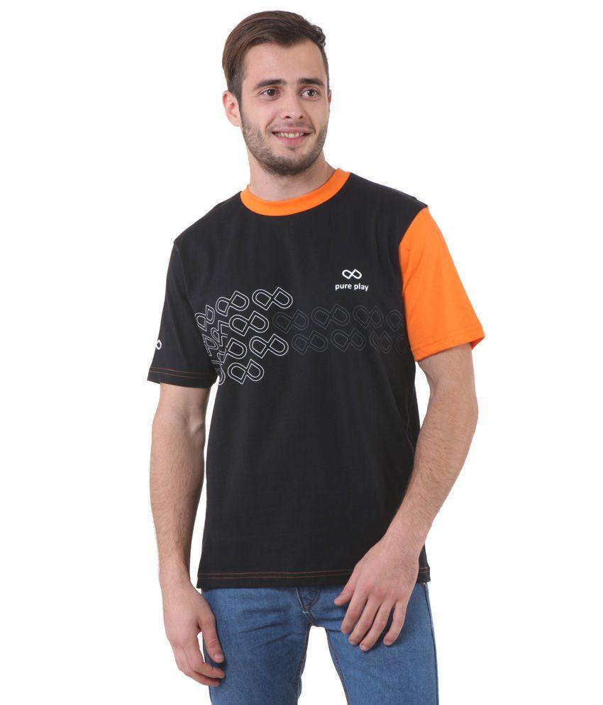 Pure Play Black Cotton Round Neck Men's T-shirt