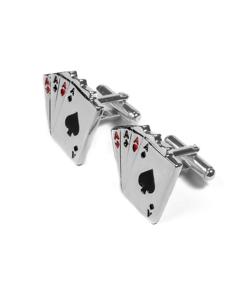 Opouriao Gents Stainless Steel Silver 4 Aces Cards Cufflinks