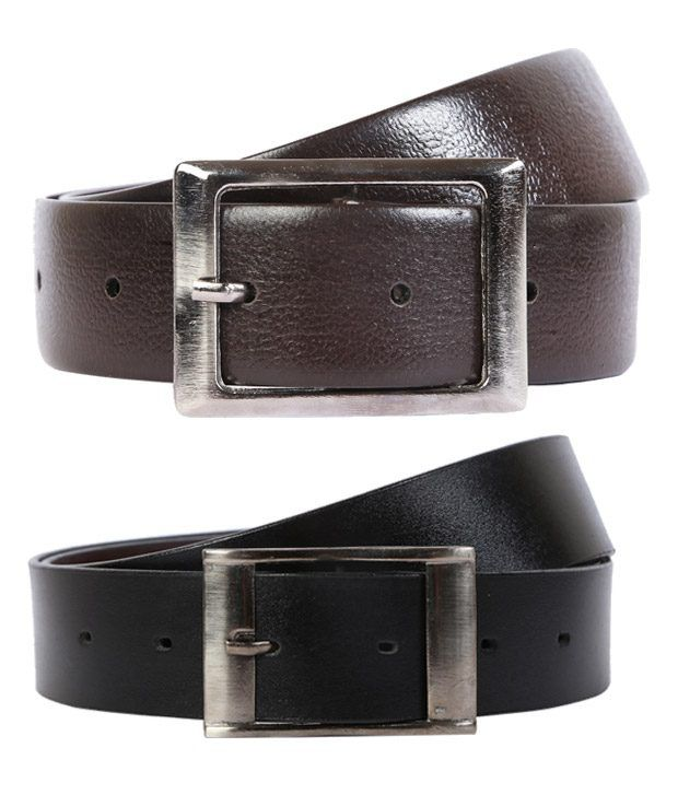 Export Fashion Black And Brown Leather Belts -set Of 2