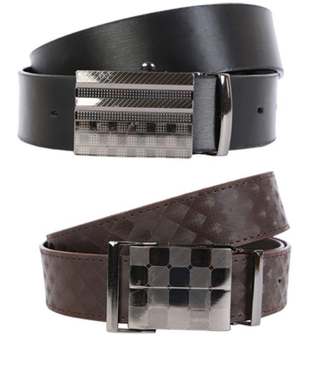 Export Fashion Brown And Black Leather Belts -set Of 2