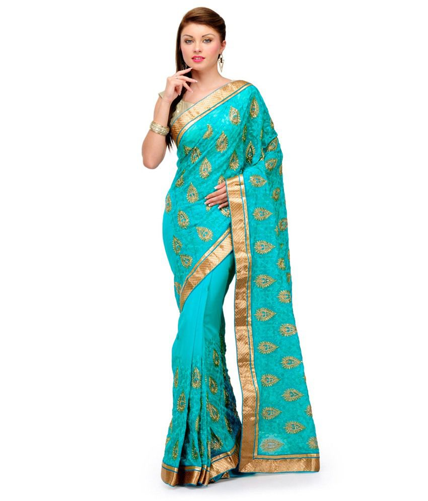 Fabroop Sea Green Faux Chiffon Saree