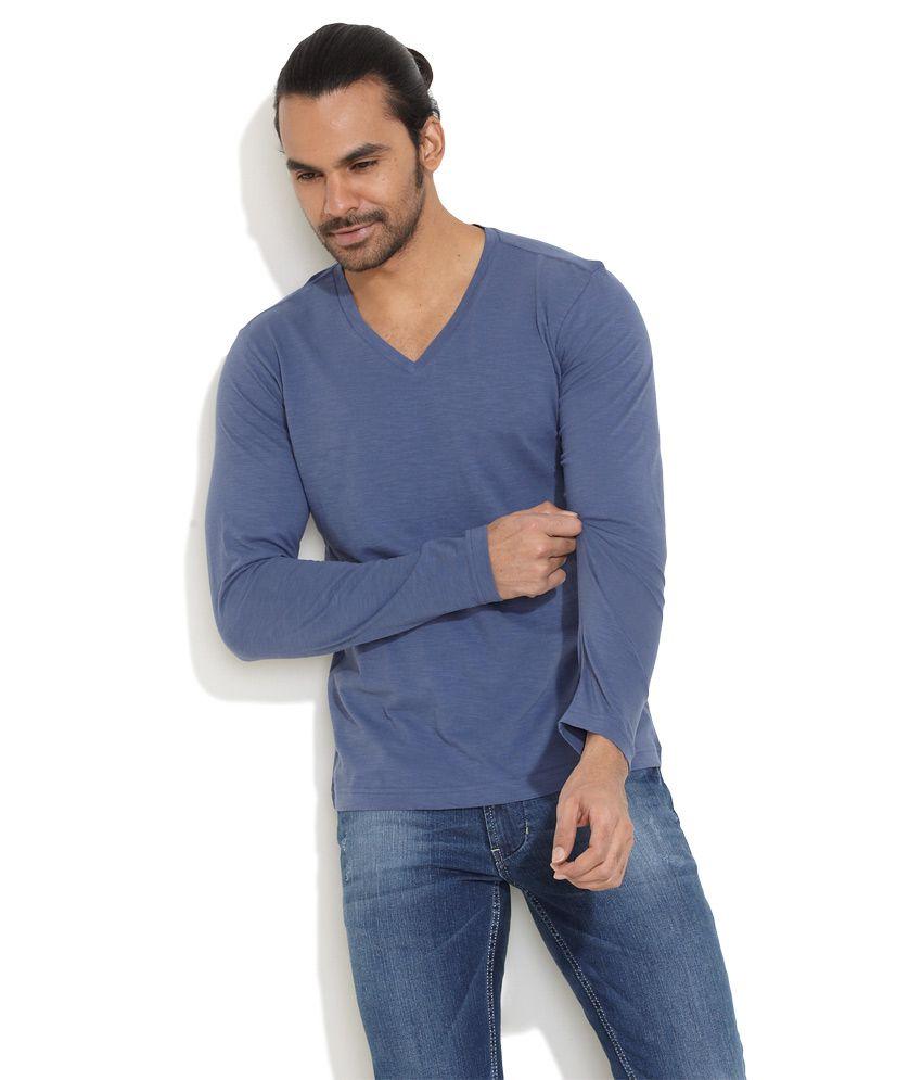 Freecultr Medium Blue Cotton Casual T-Shirt