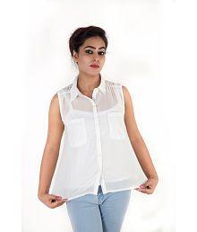 Kashana Fashion White Poly Georgette Shirts