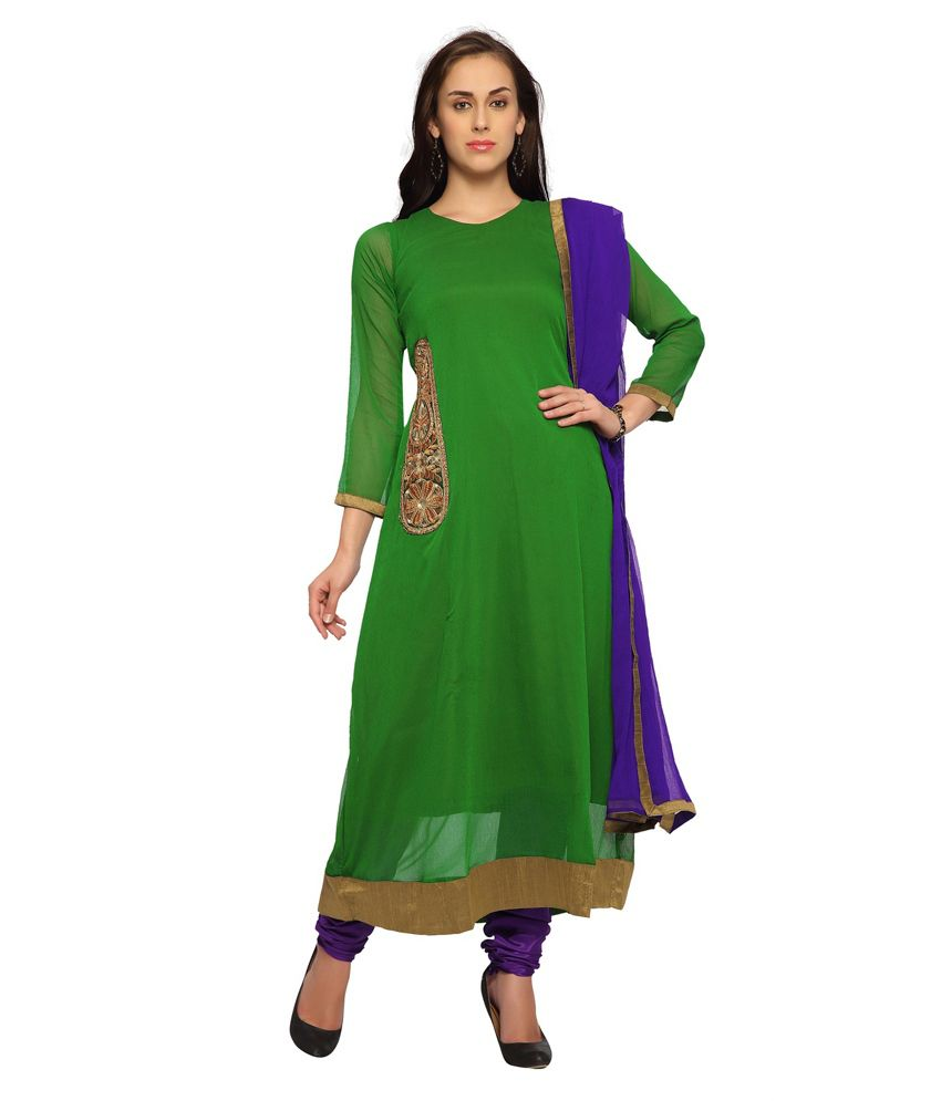 Designersareez Green Chiffon Semi Stitched Anarkali Dress Material With Dupatta