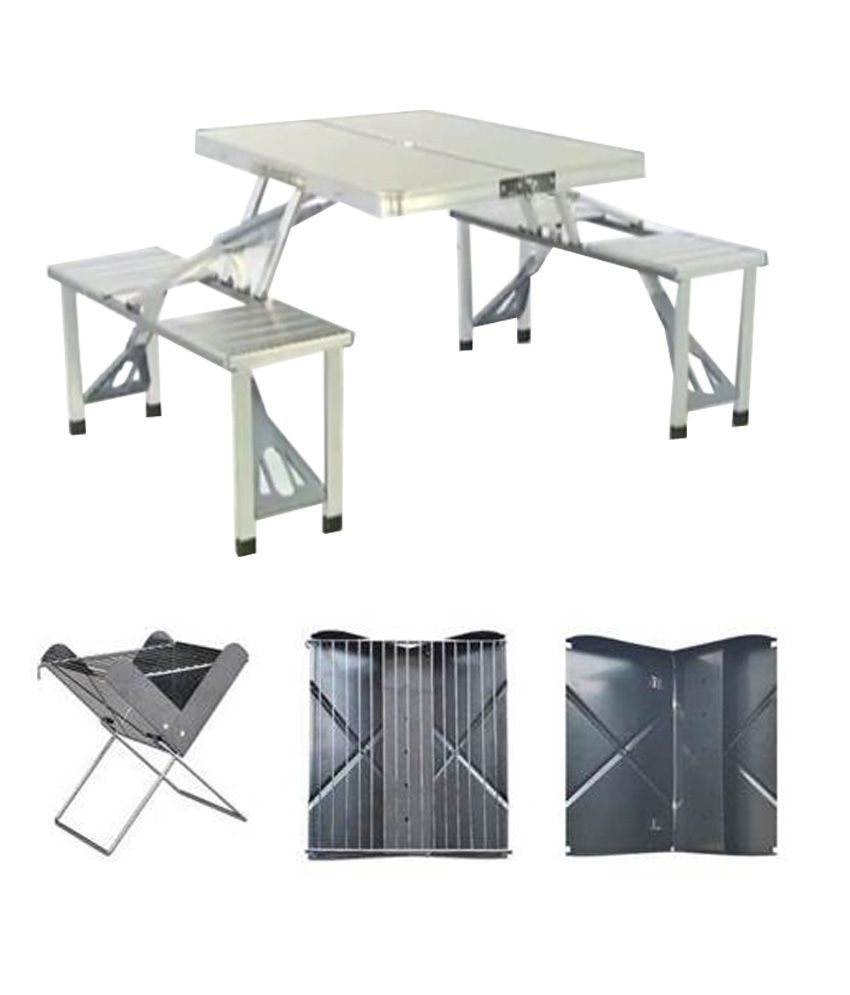 4 Seater Multipurpose Outdoor Set in Silver Buy 4 Seater  : Multi Utility Foldable Aluminium Table SDL195394656 1 5357e from www.snapdeal.com size 850 x 995 jpeg 50kB