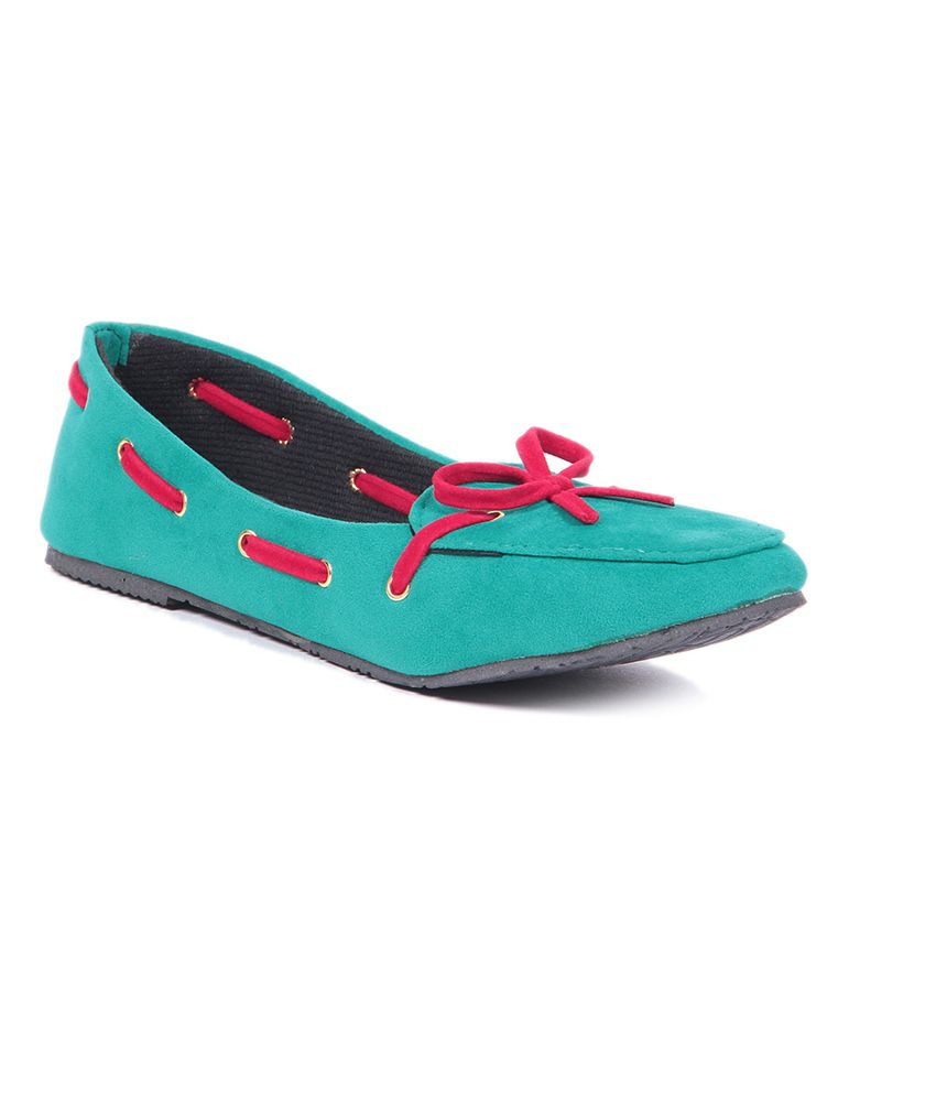 Emerald Green Suede Flat Shoes