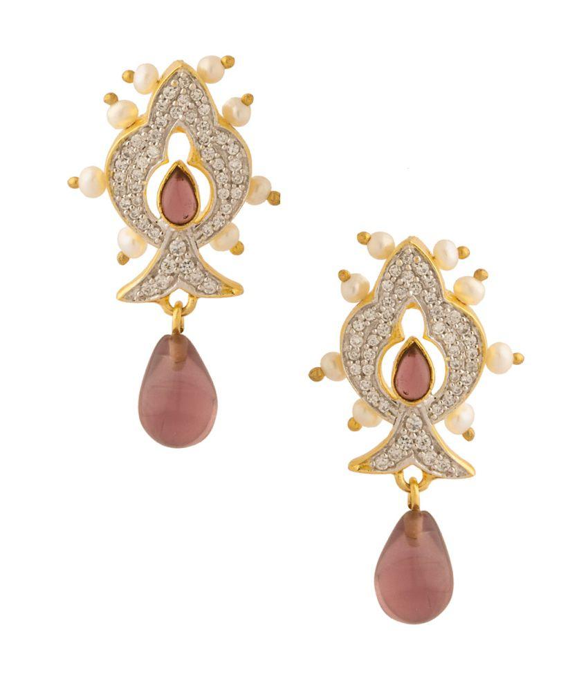 Voylla Pair Of Dangler Earrings With Purple Colored Stones
