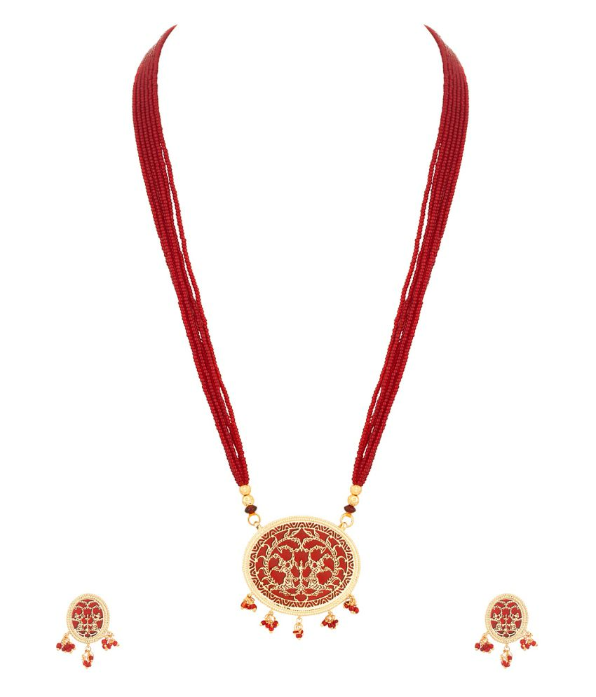Voylla Thewa Necklace Set With Maroon Colored Beads And Golden Embossing