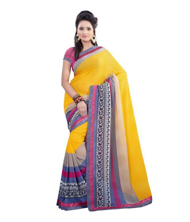 Fabdeal Yellow Faux Georgette Printed Saree With Blouse Piece