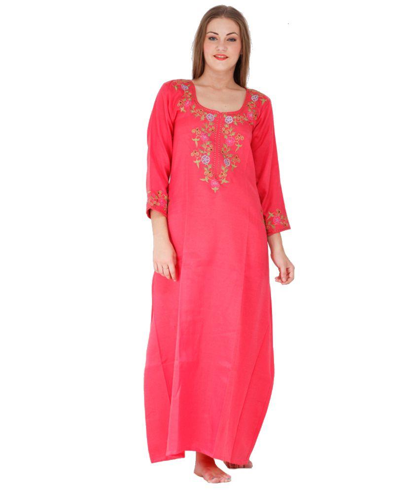 Ginni Pink Pashmina Long Nighty