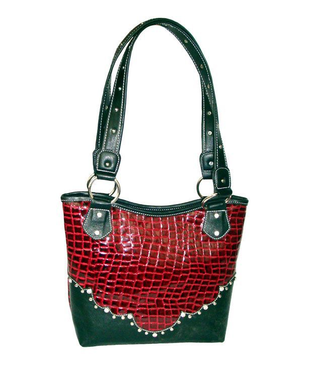 Saiva Red Non Leather Tote Bags