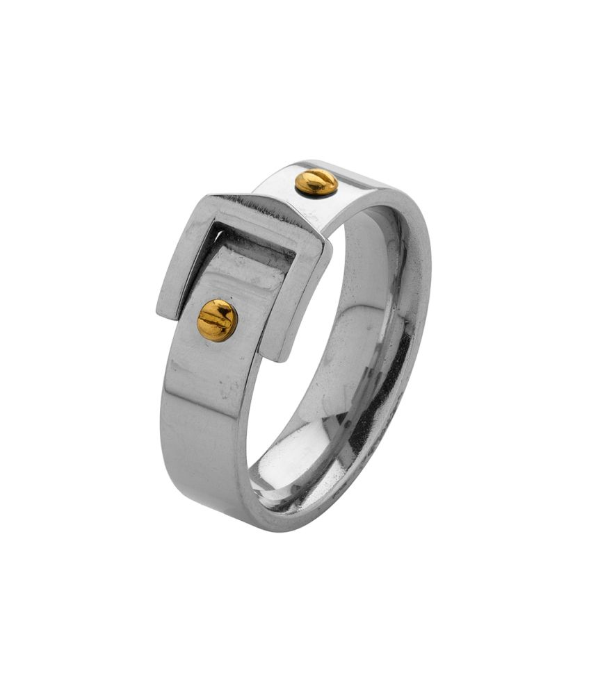 Voylla Mens Ring In Silver Color With Golden Motif, Size 20.0