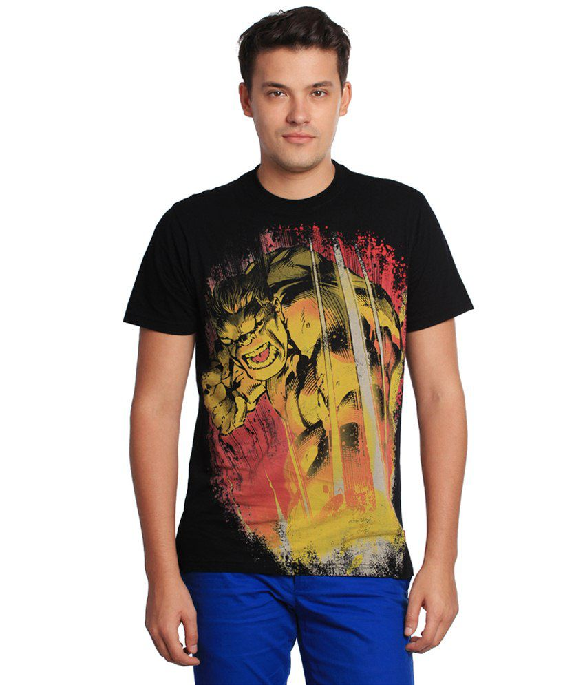 Cotton World Black Cotton T-shirt