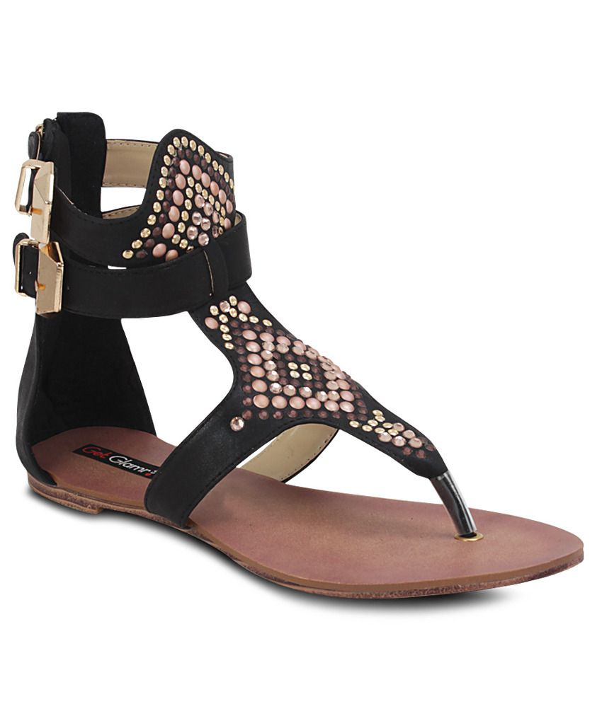 Get Glamr Black Flat Sandals