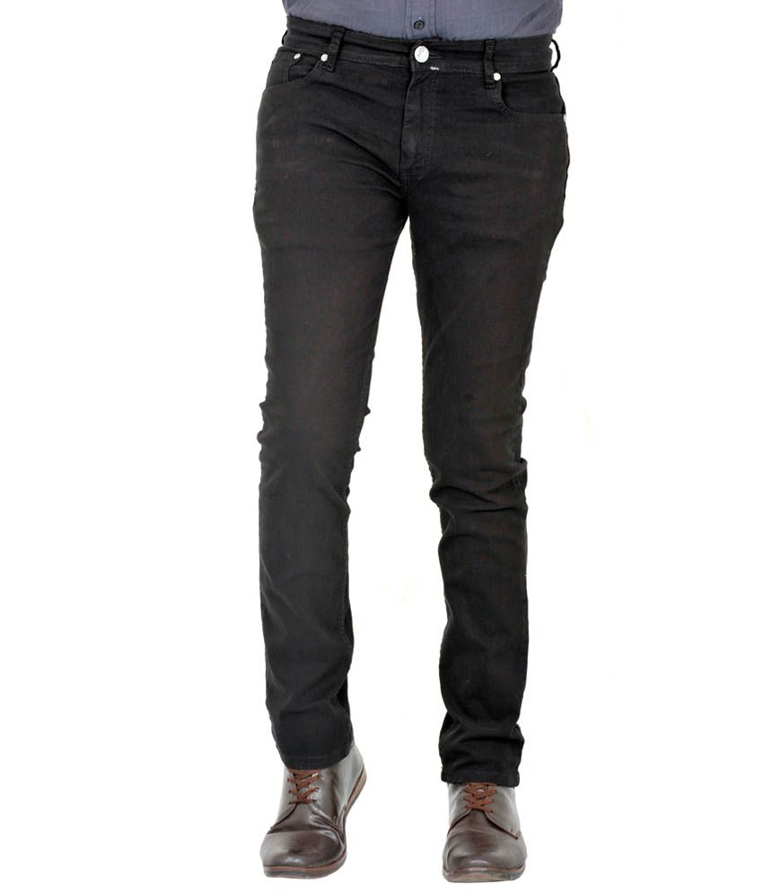 Indigen Black Cotton Skinny Basics Jeans