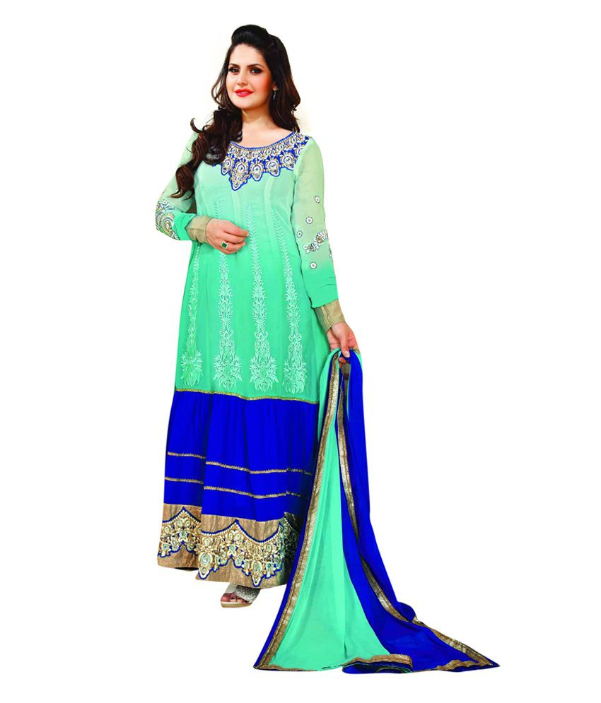 Manjubaa Green Embroidered Pure Georgette Semi-Stitched Anarkali Dress Material