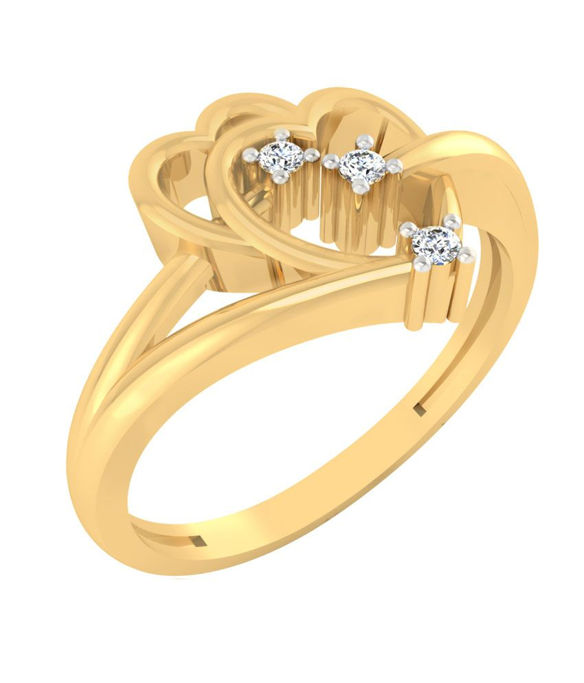 Iskiuski 14kt 0.03ct Heart Gold Designer Diamond Ring