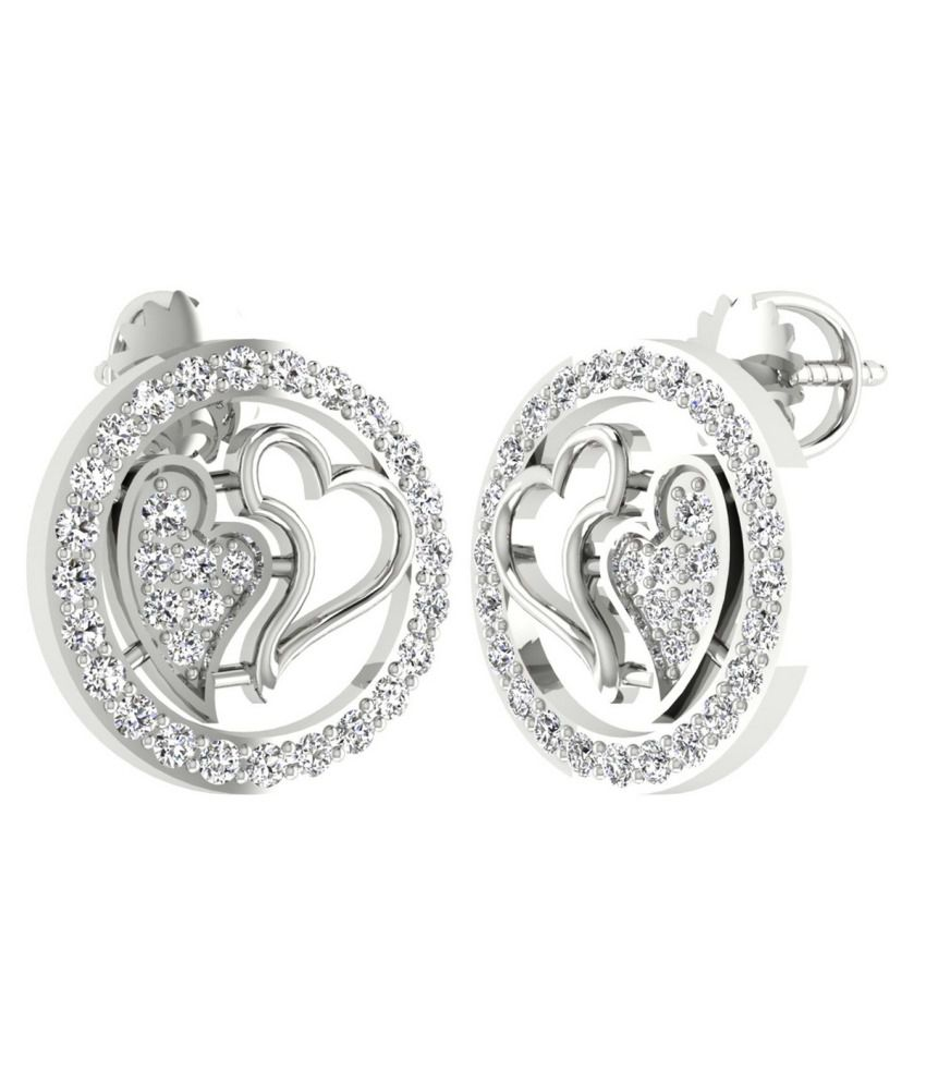 The JUVLS Amedea Earrings with VS Clarity White Diamonds in 18K White Gold