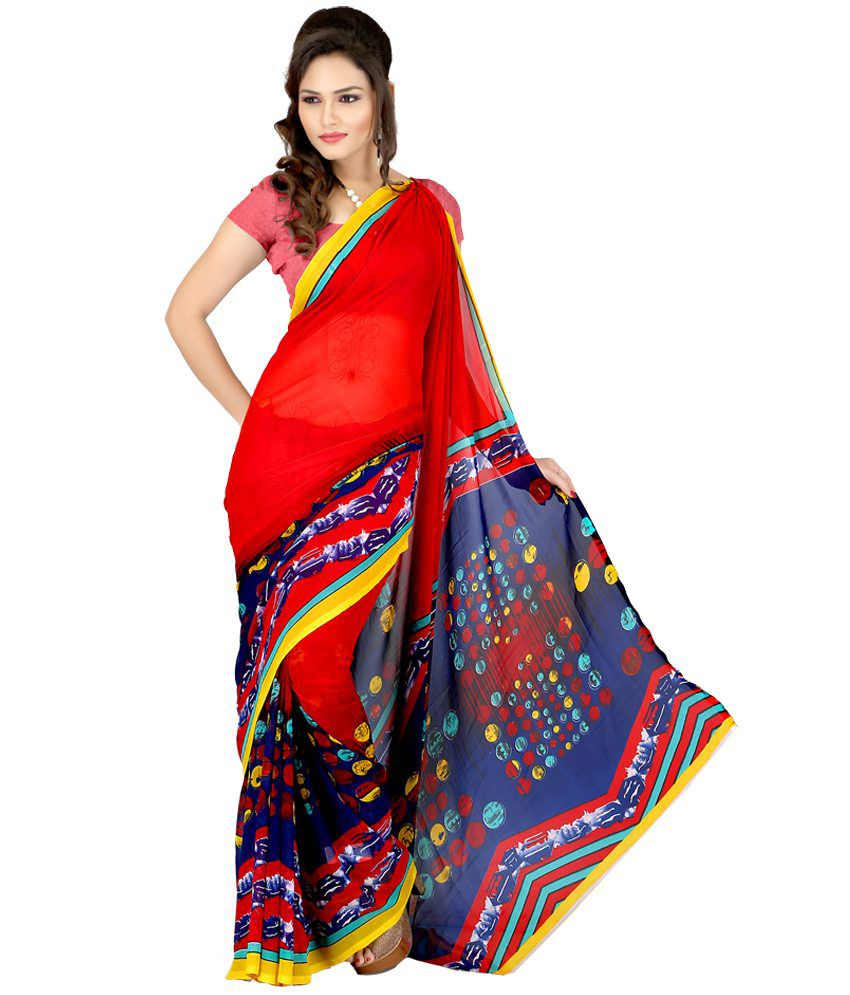Laxmi Sarees Red Faux Georgette Saree